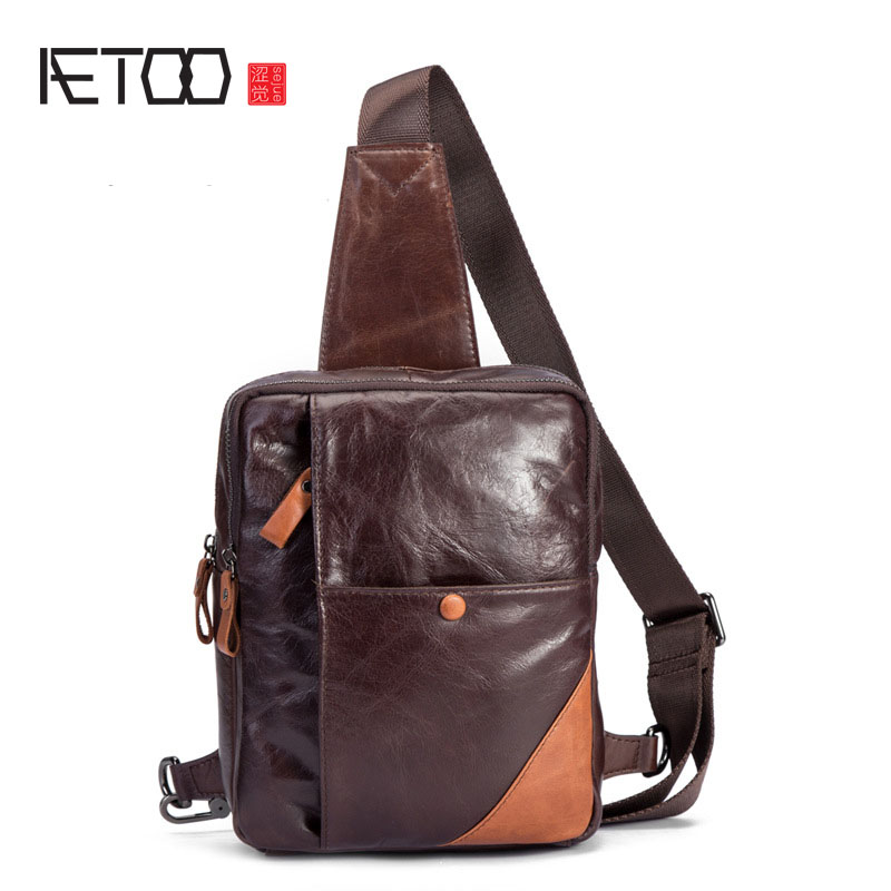 AETOO New men 's chest bag leather shoulder Messenger bag head oil wax leather hit color chest bag retro male bag aetoo genuine leather male bag korean version of the retro men s shoulder bag head layer of leather vertical paragraph messenger