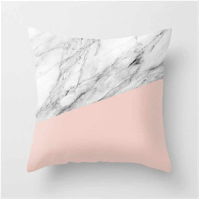 Creativo abstracto italiano mármol funda de almohada mezcla de algodón cintura funda de almohada de forma cuadrada cojín de sofá coche cubierta envío de la gota
