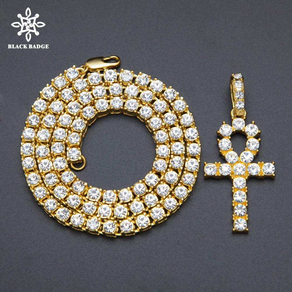 Men Women Alloy Hip Hop Iced Out Ankh Cross Pendant Tennis Chain CZ Egyptian Key Of Life Pendant&Necklace Jewelry Gift