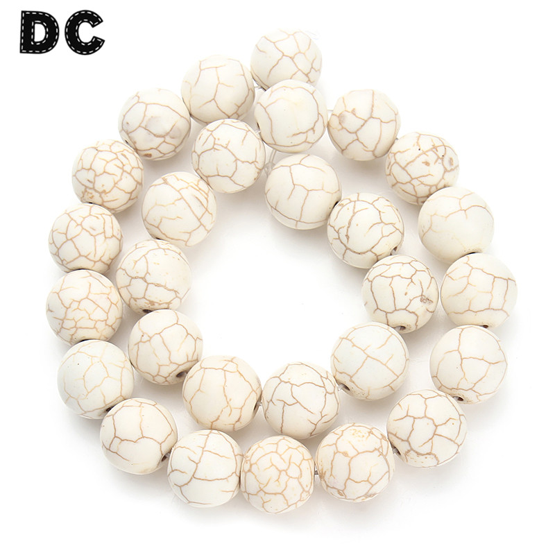 DC 40cm/strand Natural Stone White Howlite Bulk Beads 4 6 8 10 12mm for Necklace Bracelet DIY Jewelry Findings Components