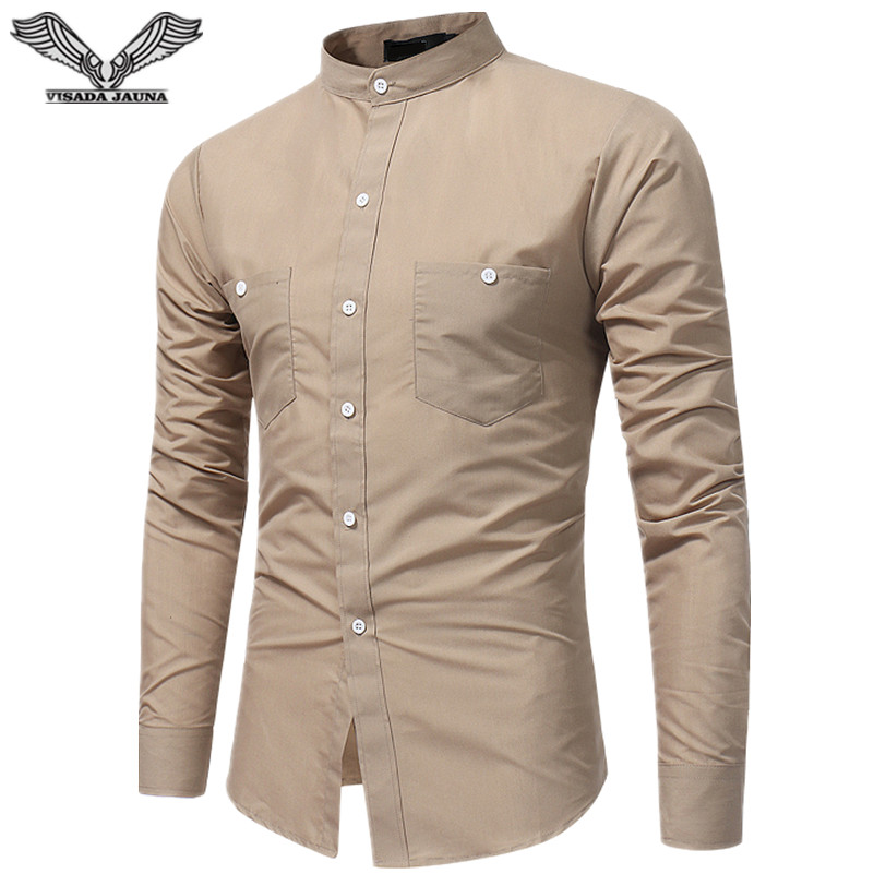 VISADA JAUNA New Arrived Fashion Clothing Male Long Sleeve Shirt Summer Slim Fit Cotton Shirt For Men Casual Shirts Men Fashion