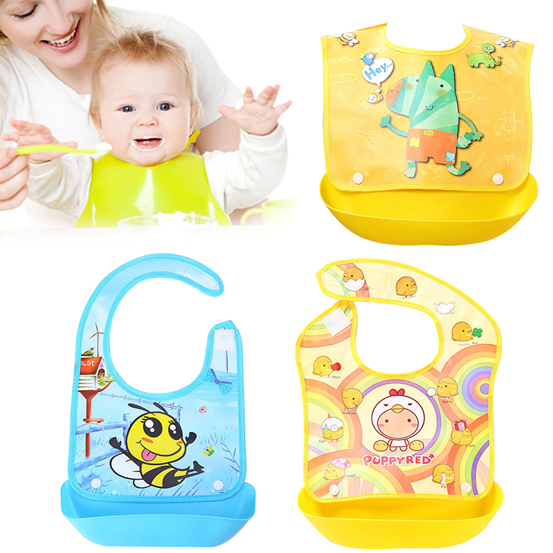 Brand New & High quality Waterproof Soft Silicone Cuet Cartoon Baby Bibs Food Catcher Safe Bib Apron