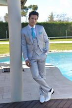 New Arrival Designs Italian Light Blue Men Suits Slim Fit Tuxedo 3 Piece Gentle Custom Groom