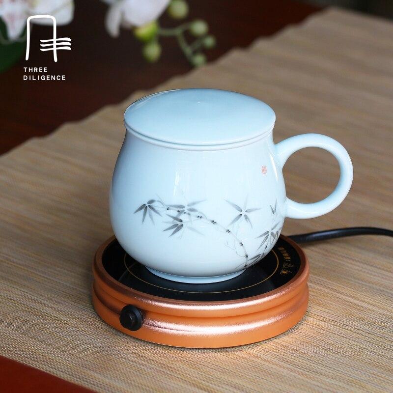 Consegna veloce regalo di Natale Elettrico Tea Cup Warmer Carica Teiera Riscaldatore Tazza pad USB 220 v Caffè Caldo Pad Zerbino oro Nero