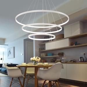 Image 4 - 60 Cm 80 Cm 100 Cm Moderne Hanger Verlichting Voor Woonkamer Eetkamer Cirkel Ringen Acryl Aluminium Body Led plafond Lamp Armaturen