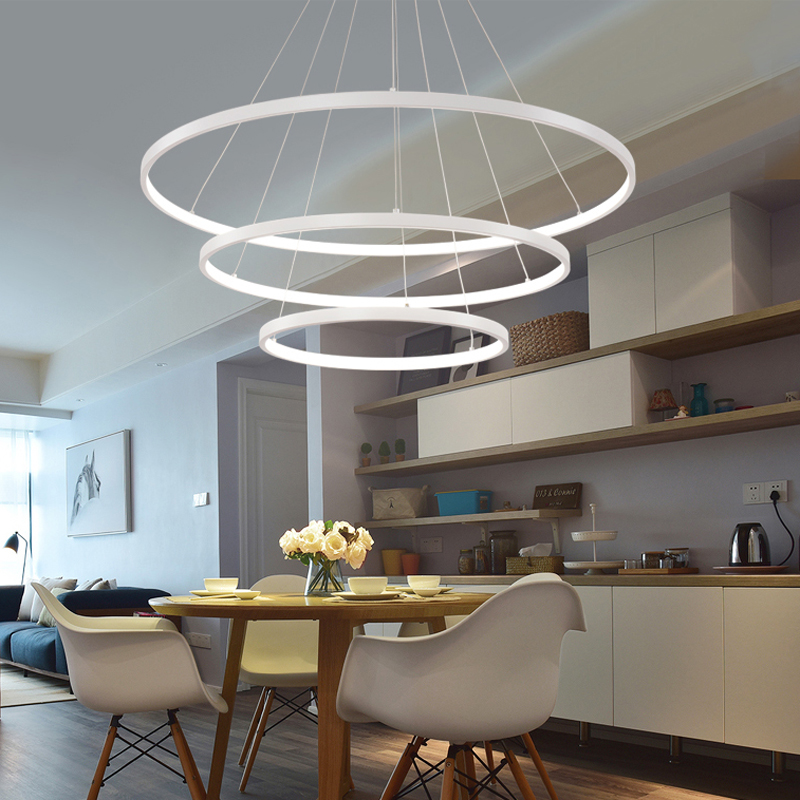60CM 80CM 100CM Modern Pendant Lights For Living Room Dining Room Circle Rings Acrylic Aluminum Body 60CM 80CM 100CM Modern Pendant Lights For Living Room Dining Room Circle Rings Acrylic Aluminum Body LED Ceiling Lamp Fixtures