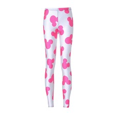 NEW 3569 sexy girl women Cartoon Pink Mouse Head 3D prints polyester elastic fitness Women leggings pants Plus size