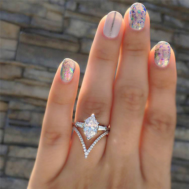 GS Size 5 6 7 8 9 10 11 Charm Wedding Rings For Women Ladies Shiny Rainbow AAA Opal Zirconia Party Gifts Bride Jewelry Gifts R5E