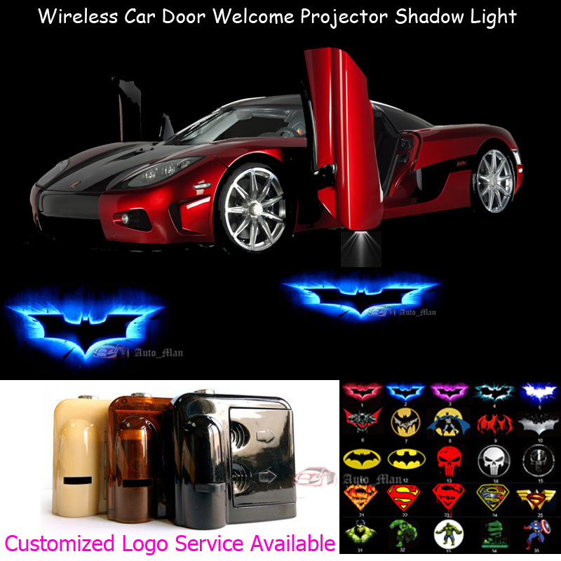 2x 3D Blue Dark Knight Batman Logo Wireless Sensor No Need Drilling Car LED Welcome Lase ...