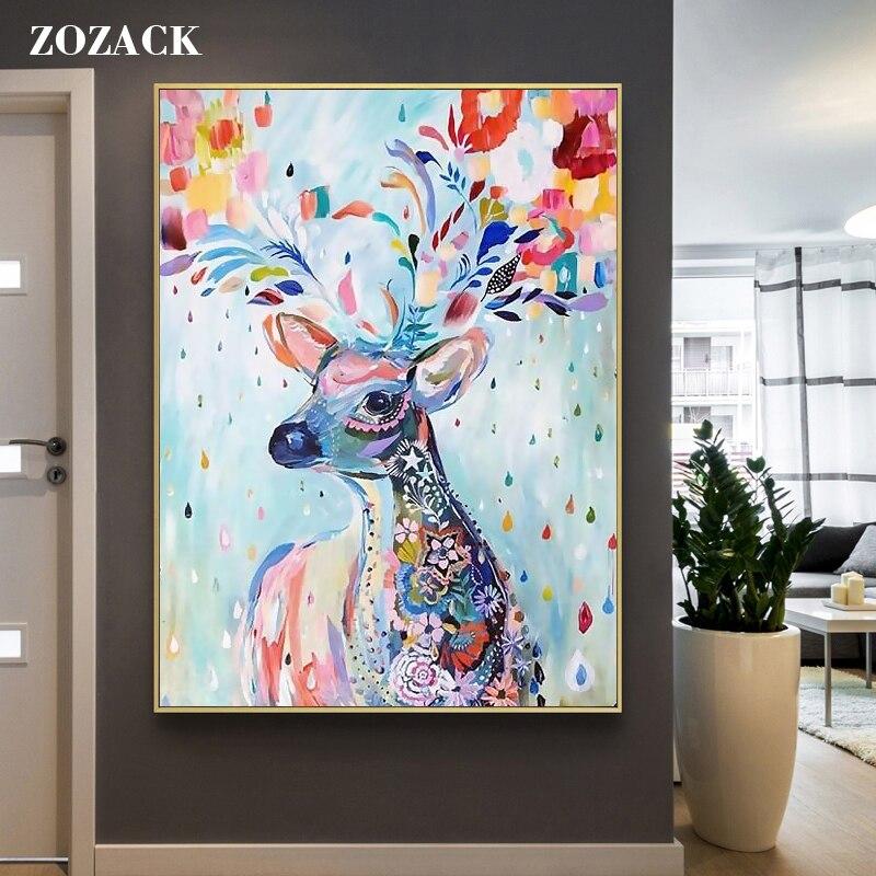 11CT Dmc Needlework,DIY Printed Cross Stitch,Sets For Embroidery Kit Animal Colorful Deer Elk Full Embroidery Cross-Stitching
