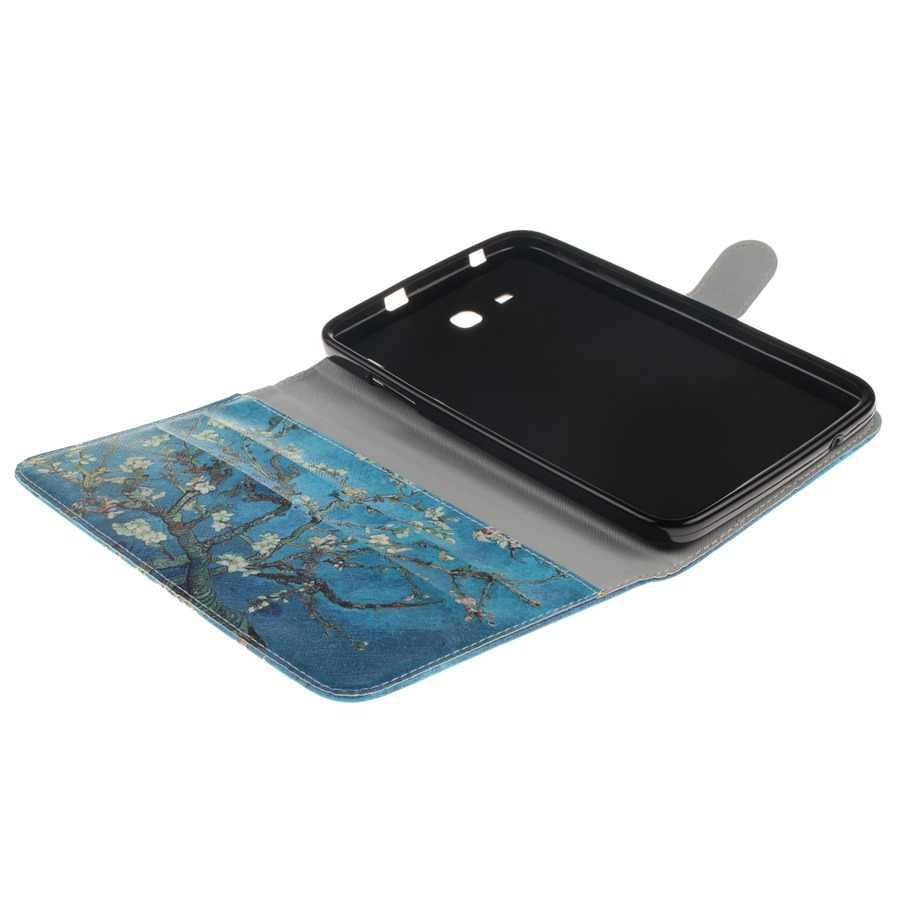 3D модный окрашенный кожаный чехол для samsung Galaxy Tab 3 Lite 7,0 T110 T111 T115 T116, чехол с отделениями для карт, чехол для планшета + пленка + ручка