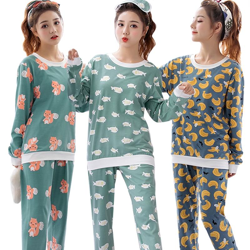 Fábrica al por mayor de primavera y otoño de las mujeres conjunto de Pijamas camisón de manga larga de dibujos animados impreso lindo ropa de dormir traje de niña Pijamas Mujer