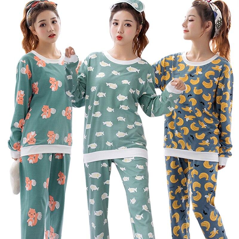 Fabriek groothandel lente herfst vrouwen Pyjama Set lange Mouwen Nachtjapon Cartoon gedrukt Leuke Nachtkleding pak Meisje Pijamas Mujer