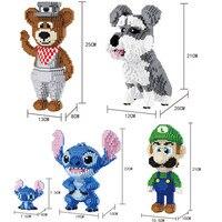Balody Cartoon Figures Series Stitch Blocks Diamond Mario Model Building Bricks Sled Dog Educational Gentleman Bear Model Kits