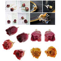 8 Pcs Real Flower Charms Mixed Color Natural Dried Rose Pendants with Hanging Ring for Fashion Earring Making Findings Crafts