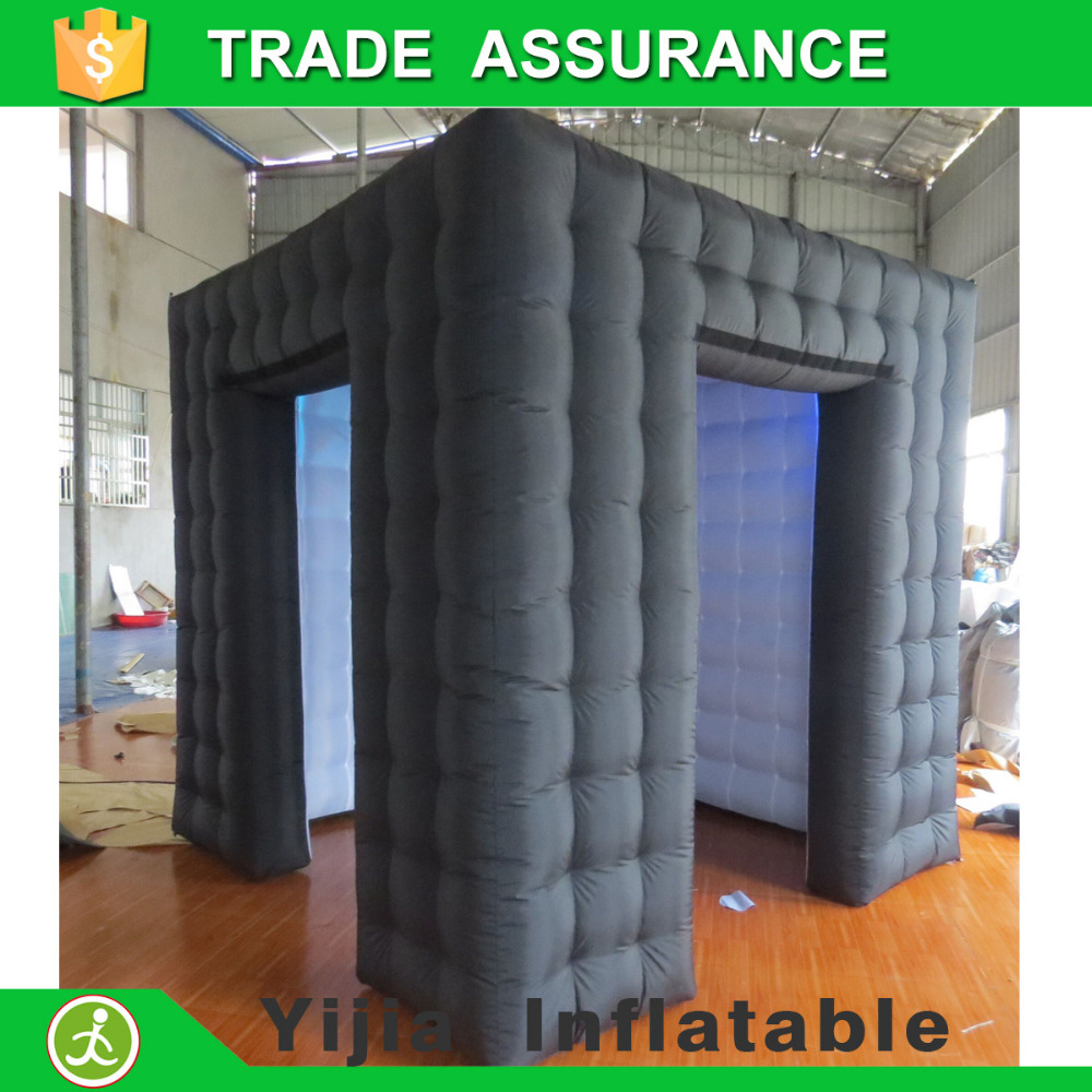 Color booth online - Free Shipping 8ft Black Outside And White Inisde Inflatable Tent Photobooth Photo Booth With Led Lights
