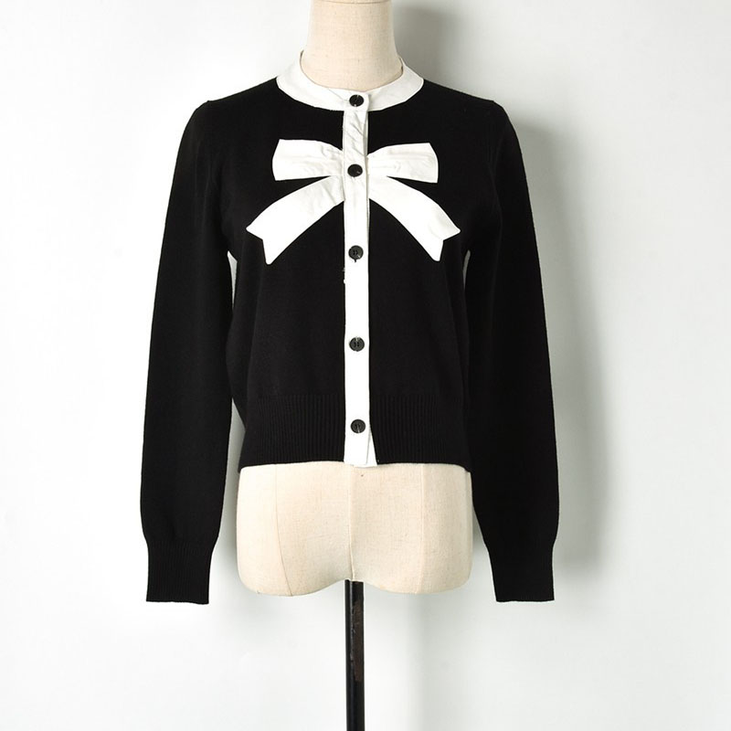 Spring Sweet Cardigan Coat 2019 Female Black White Block Bow Patchwork O neck Single Breasted Knitted