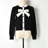 Spring Sweet Cardigan Coat 2019 Female Black White Block Bow Patchwork O neck Single Breasted Knitted Sweater