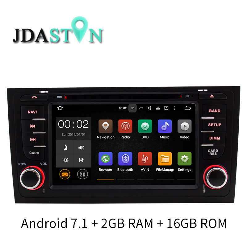 JDASTON Quad núcleos Android 7,1 reproductor de DVD del coche para AUDI A6 S6 RS6 1997-2004 WIFI Multimedia navegación GPS radio Video Player 2 GB