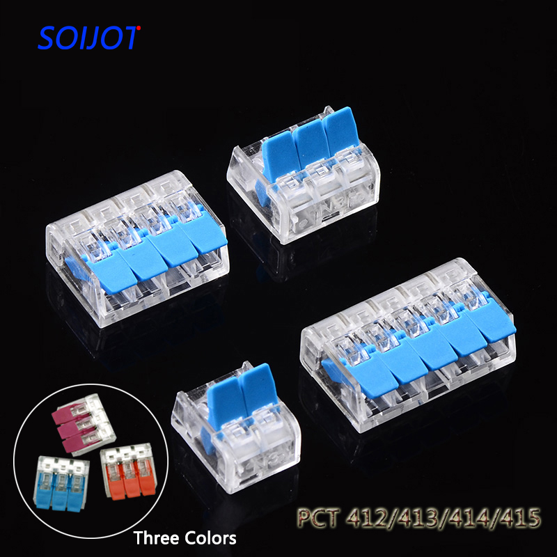 (30-100pcs/lot) 221-412 413 414 415 Mini Fast Wire Connector Universal Compact Wiring Connector,push-in Terminal Block Pct-412