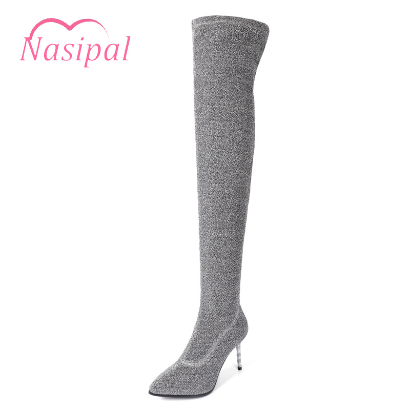 Nasipal Stretch Women Thigh High Boots Stilettos Sexy Over the Knee Boots Pointy Toe High Heel Long Boots Black Red Gold Silver black stretch fabric suede over the knee open toe knit boots cut out heel thigh high boots in beige knit elastic sock long boots