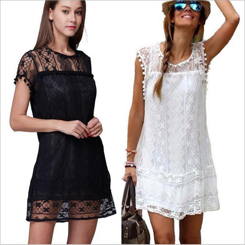 Hot Sale 2018 Summer New Women Brief Lace Dress Female Casual Hollow Out Elegant Short Sleeve Dresses Girls vestidos