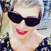 FEISHINI Hot Elegant Narrow Vintage Cat Eye Sunglasses Women hip hop UV400 Brand Star Fashion Tiny Sexy Red Sunglass Female 2019