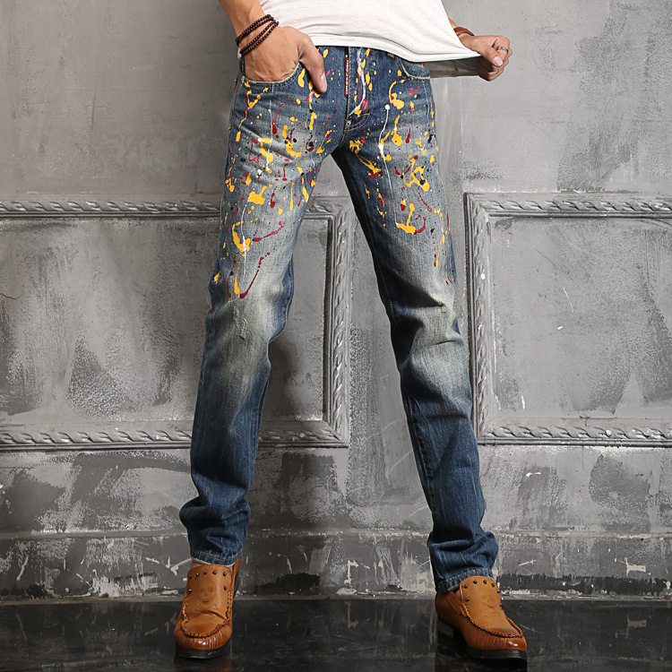 3546ab18306 Italian Popular Man Colorful Oil Painting Jeans Men's Trendy Cool Bootcut  Denim Biker Jeans Straight Slim Trousers Pants-in Jeans from Men's Clothing  on ...