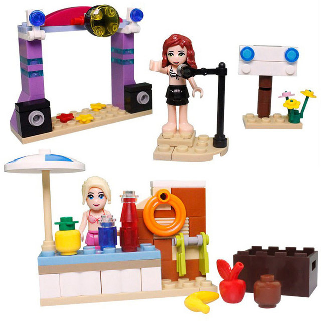 Kazi Elementary Toys Summer Beach Building Blocks Set For Girl Learning Education Dune Buggy And Speed Boat Miniature Play Mobile