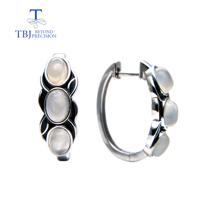TBJ vintage style earring with natural white moonstone gemstone earring in 925 sterling silver design for