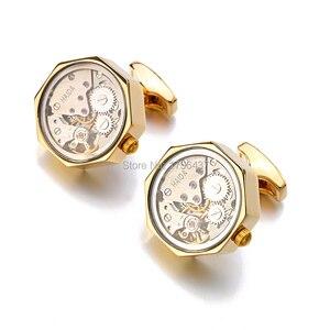 Image 5 - Многофункциональные Запонки со стеклом, нержавеющая сталь, стимпанк, механизм запонки для мужских часов