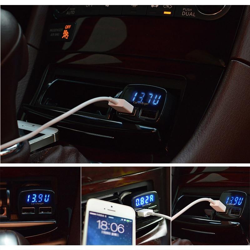 Dual USB autós töltő adapter voltmérő ampermérő teszter - Autóalkatrész - Fénykép 3