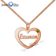 Nombre DIY Rose Plateó Personalizada Birthstone Corazón Collares y Colgantes de Plata de Ley 925 Amantes de Regalo (JewelOra NE101534)