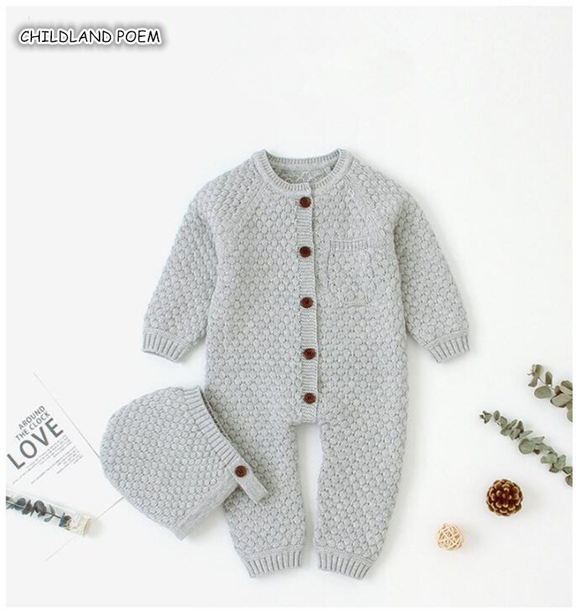 Baby Girl Clothes Knitted Baby Clothes Newborn Baby   Romper   With Hat Infant Baby Jumpsuit For Boy Girl   Romper