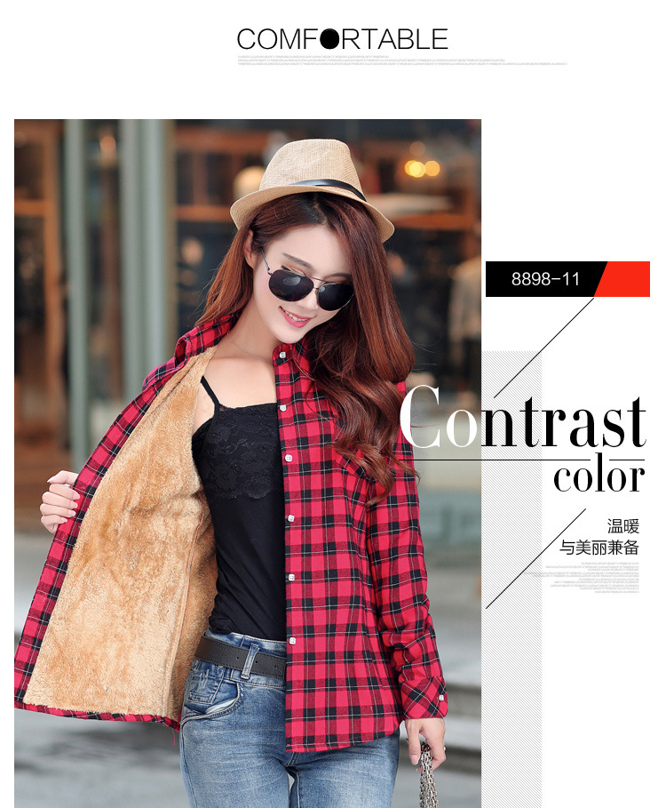 19 Brand New Winter Warm Women Velvet Thicker Jacket Plaid Shirt Style Coat Female College Style Casual Jacket Outerwear 22