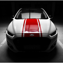 World Datong Racing Sport Styling Stripes Vinyl Decal For Ford Mustang GT Car Hood Roof Tail Whole Sticker Body Decor Decals matt color change vinyl film car wraps hood roof whole body stickers decal with air bubble car styling automobiles accessories