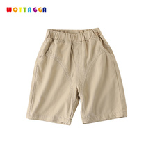 WOTTAGGA 2019 Summer Solid Color Linen Pleated Children Ankle-length Pants for Baby Boys Pants Pockets for Kids Child ankle length pleated pants