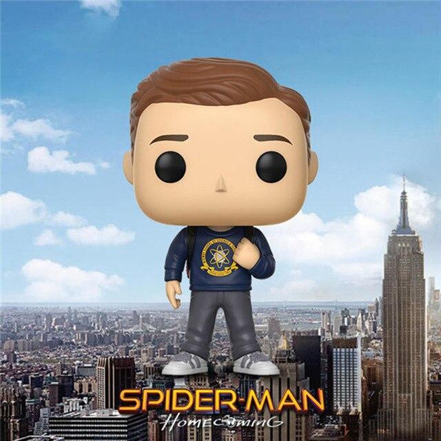 Homem Aranha Perter Parker FUNKO POP Vinyl Boneca Marvel Spiderman Figuras de Ação Coleção Brinquedos Modelo do Regresso A Casa #224