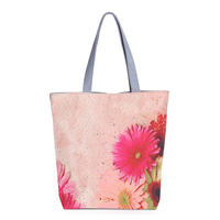 5 Pcs of (Women's fashion canvas shoulder bag flower printed canvas shopping bags(Light pink))