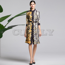 Cuerly High quality 2019 fashion runway summer dress Womens 3/4 Sleeve Striped and Floral Print Vintage Belt Split Dresses
