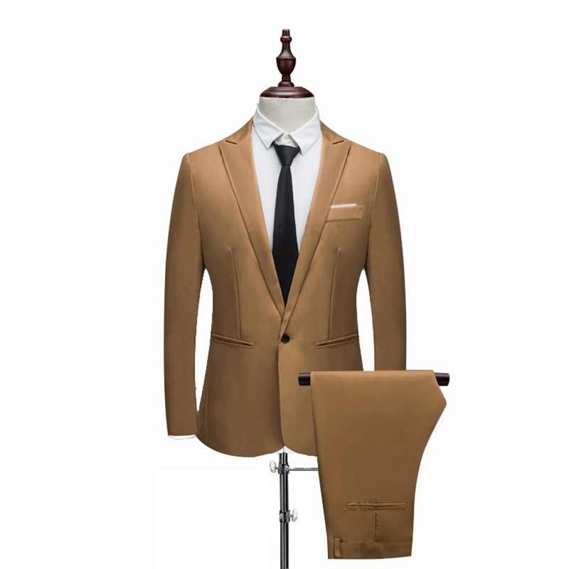 メンズ高級スーツ (ジャケット + パンツ) 男性結婚式スリムフィットブレザー男性のための衣装ビジネスフォーマルパーティーカジュアルスーツ