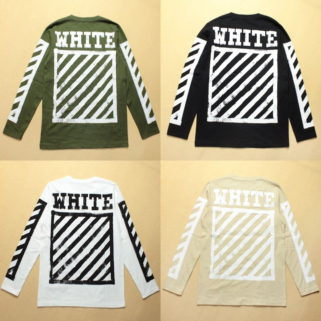 45beea038dc3 Euro America Streetwear Off White Long Sleeve T shirt Men Women High  Quality Cotton Hip Hop