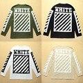 Euro America Streetwear Off White Manga Comprida T shirt Das Mulheres Dos Homens Algodão de alta Qualidade Hip Hop Kanye Justin Bieber T camisas Listradas