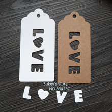 "50pcs/lot 2colors white and Kraft paper ""LOVE"" Hang tag Retro Gift Hang tag 4.7x10cm"