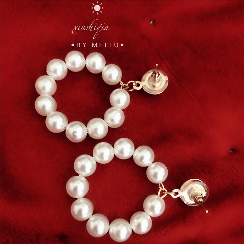 2019 new Fashion Jewelry White Imitation Pearl Earrings big Round 6mm Pearl Earrings Statement Earrings for woman