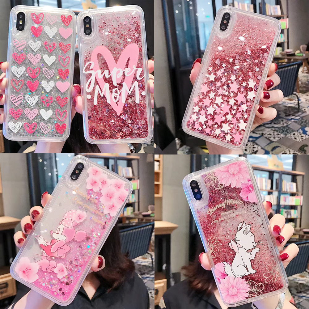 Lovely Minnie Cat Water Liquid <font><b>Case</b></font> for <font><b>iPhone</b></font> 7 <font><b>8</b></font> 6 6S Plus X XS Max XR Quicksand Bling Glitter Soft Cover Phone <font><b>Cases</b></font> image