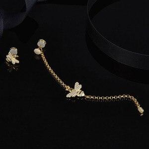 Image 4 - Женские асимметричные серьги SLJELY, длинные серьги из стерлингового серебра 925 пробы золотистого цвета с Пчелой, инкрустированные цирконием, модные вечерние ювелирные изделия