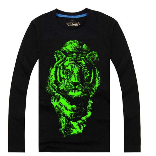 Топ дети футболки мальчиков волк тигр noctilucence Футболка для девочек Световой футболки мальчики дети ночь блестящие спортивные длинные Тис