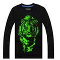 Top crianças t-shirt meninos tigre lobo noctilucence T-shirt para meninas t-shirt meninos crianças da noite brilho Luminoso esportes longas Tees