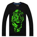 top kids t-shirt boys wolf tiger noctilucence T-shirt for girls  Luminous t-shirt boys kids night shining sports long Tees